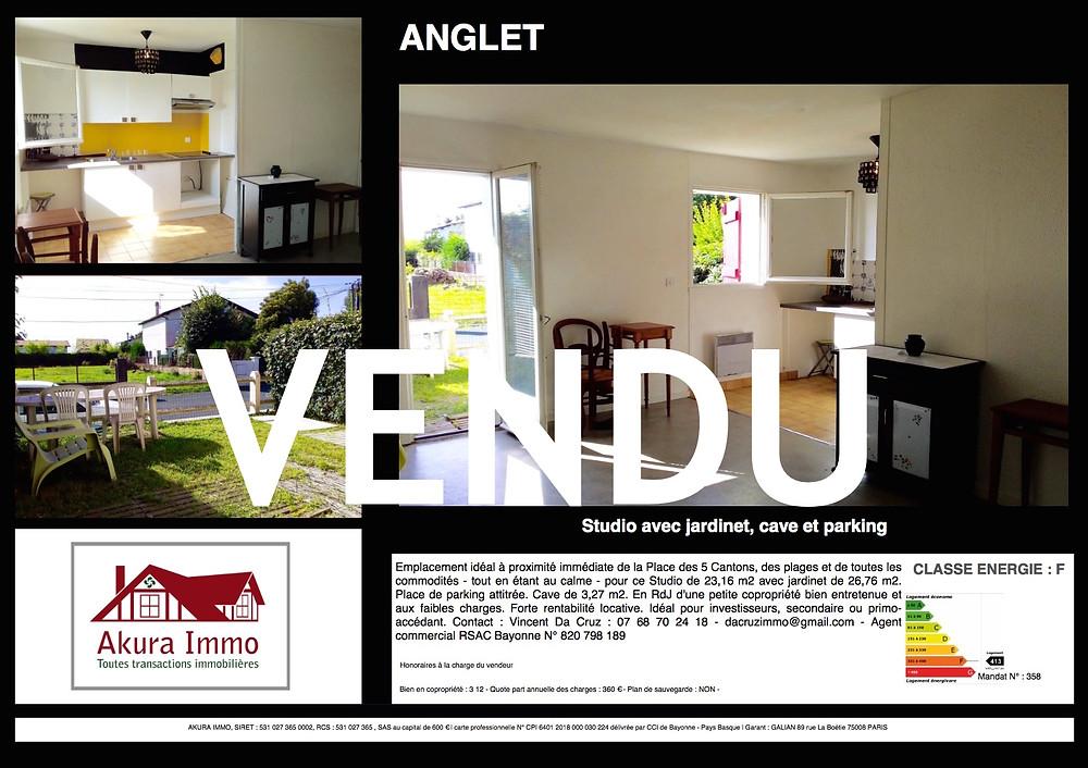Studio vendu à Anglet 5 Cantons