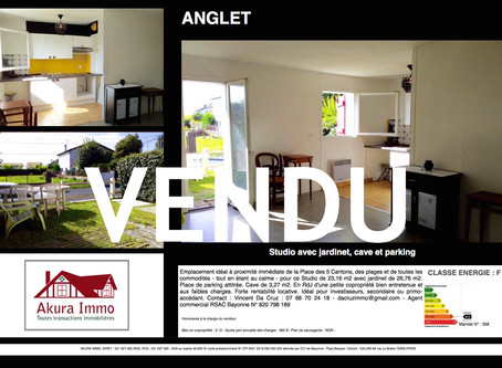 VENDU Studio avec jardinet, cave et parking à ANGLET 5 Cantons