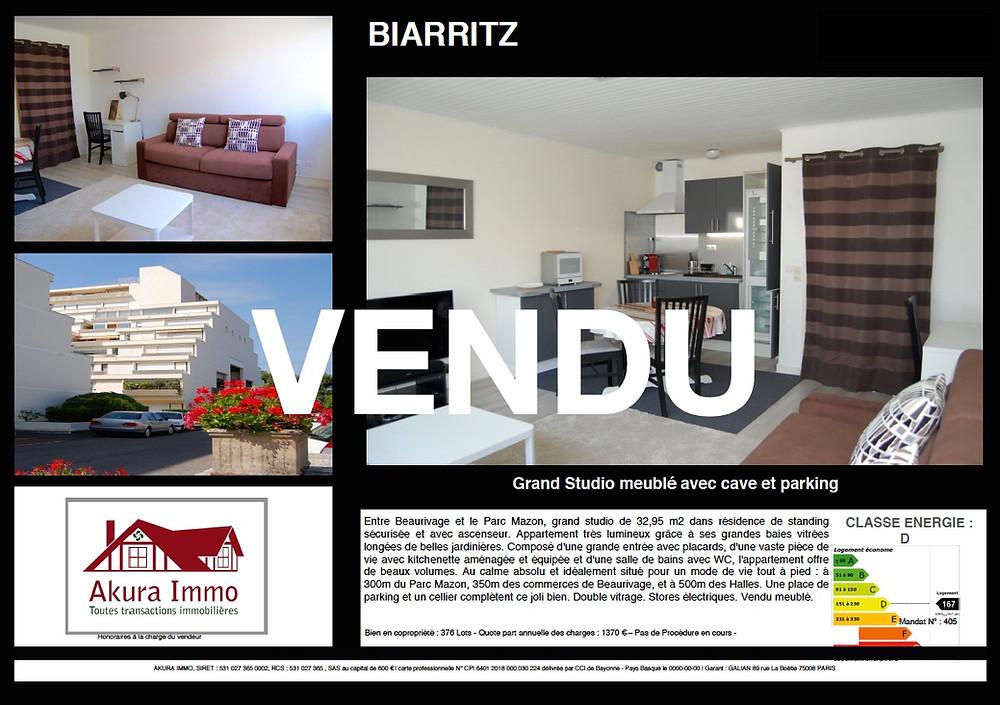 Vendu beau studio à Biarritz Beaurivage