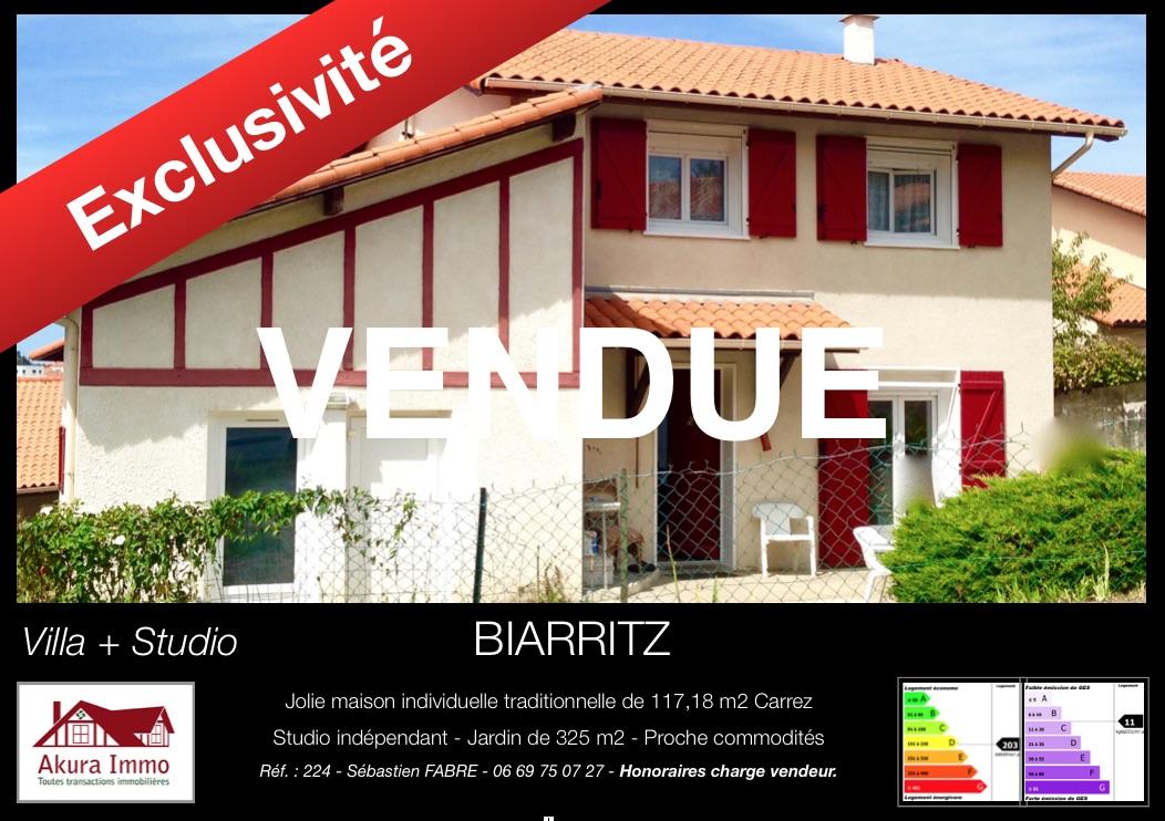 Maison vendue par Akura à Biarritz