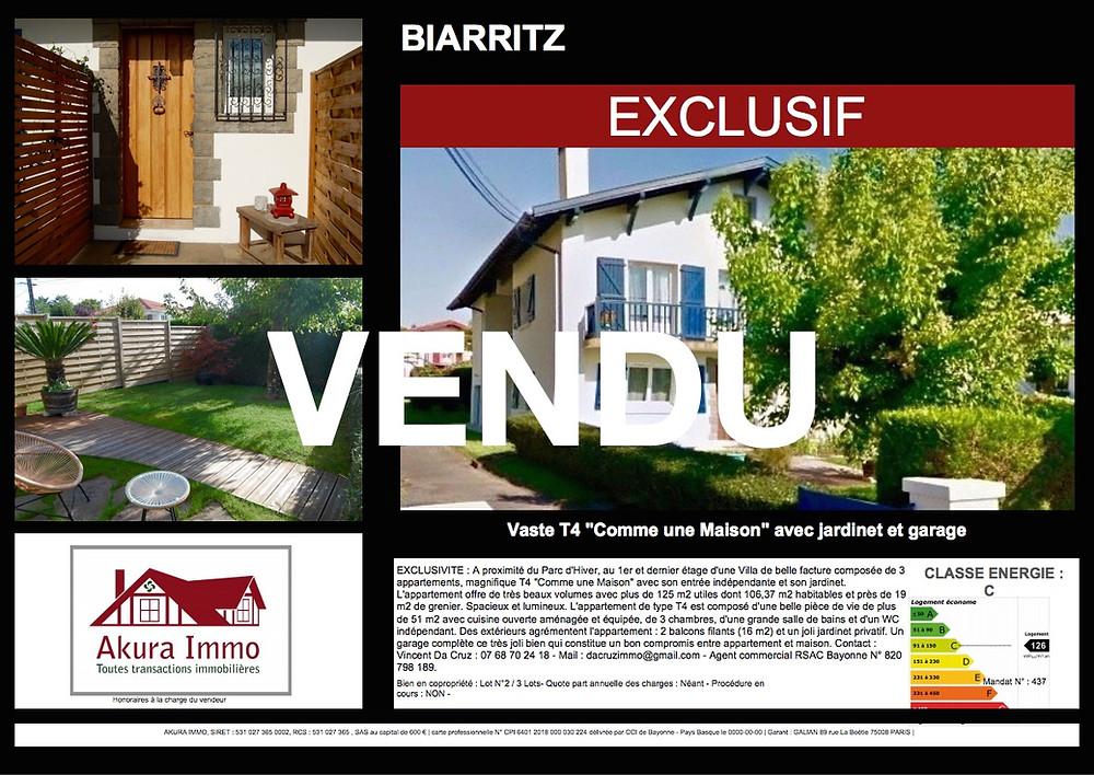 """Très beau T4 """"Comme une Maison"""" vendu à BIARRITZ"""