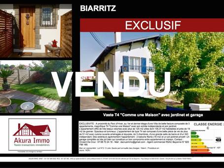 """VENDU en EXCLUSIVITE Très beau T4 """"Comme une Maison"""" à BIARRITZ"""