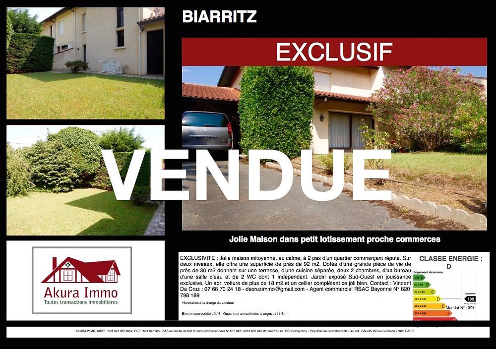 Maisons vendue à BIARRITZ Les Docks - Iraty