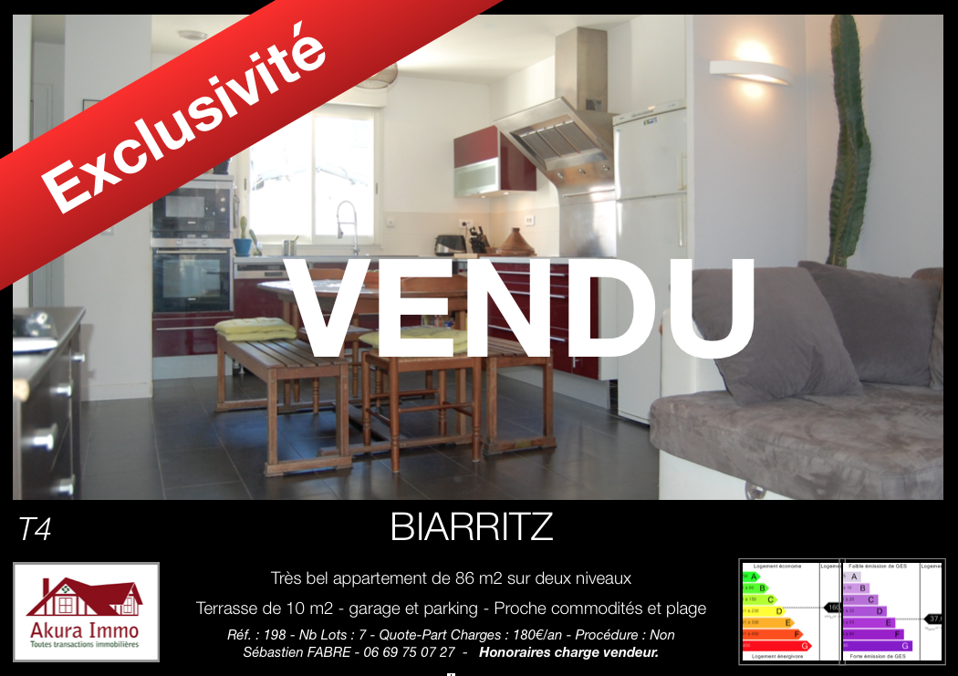 Vendu par Akura Immo T4 Biarritz