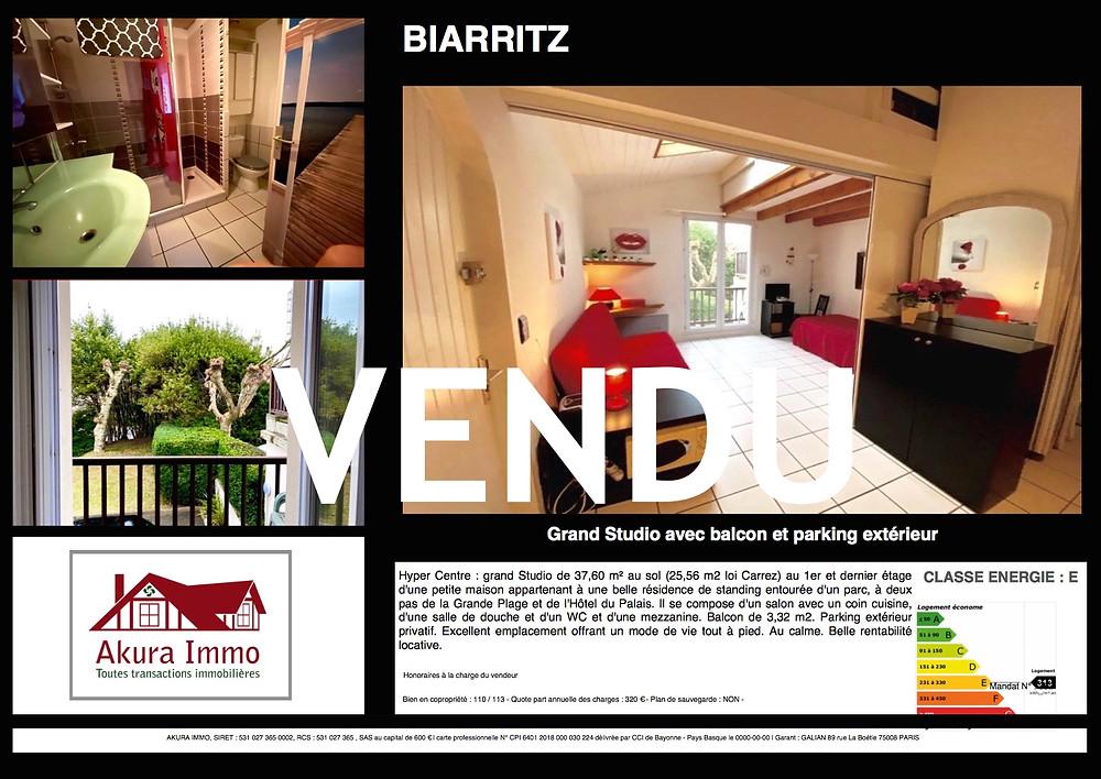 Grand Studio en Hyper Centre de Biarritz