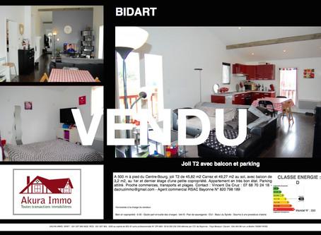 VENDU T2 avec balcon et parking à BIDART proche Centre