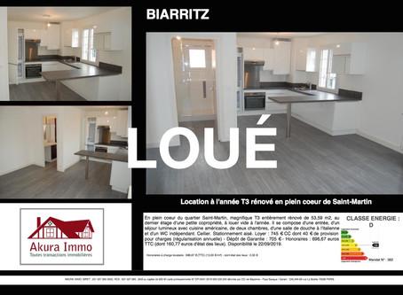 LOUÉ / T3 à BIARRITZ Saint-Martin