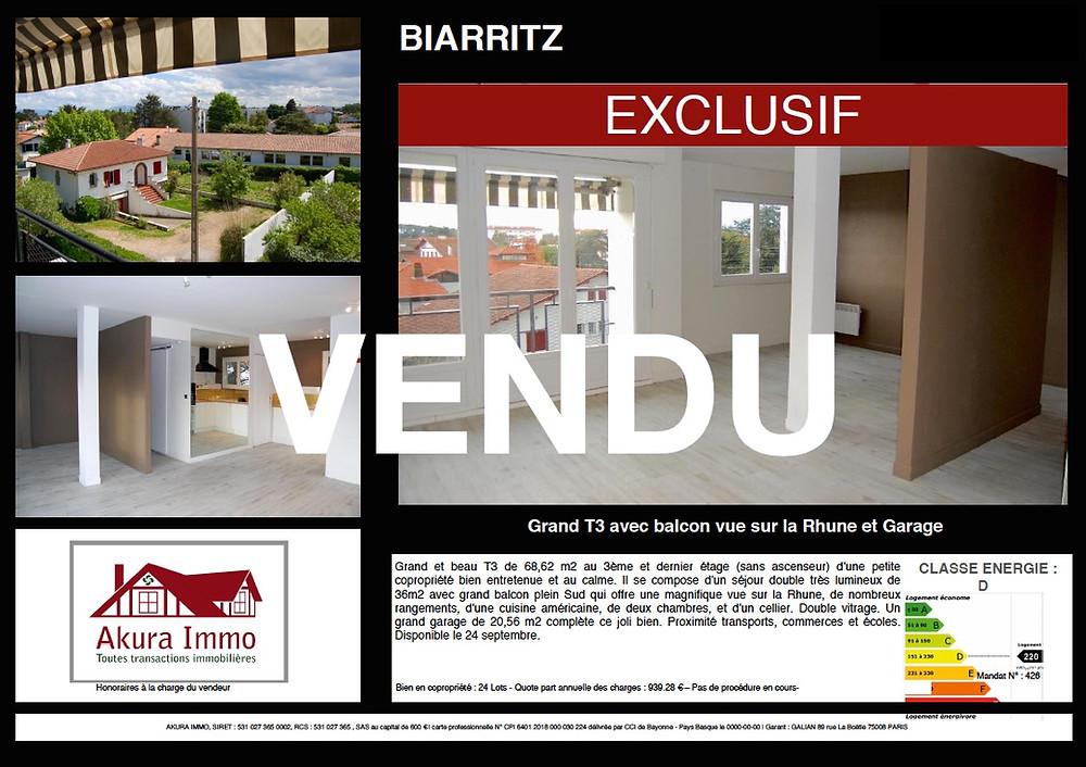 Grand et beau T3 vendu à Biarritz Braou