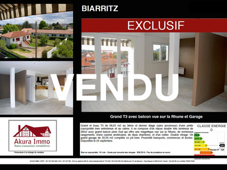 VENDU en exclusivité T3 avec balcon et garage à BIARRITZ Braou