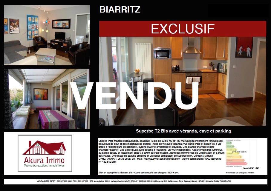 Vendu chez Akura T2 Biarritz Beaurivage