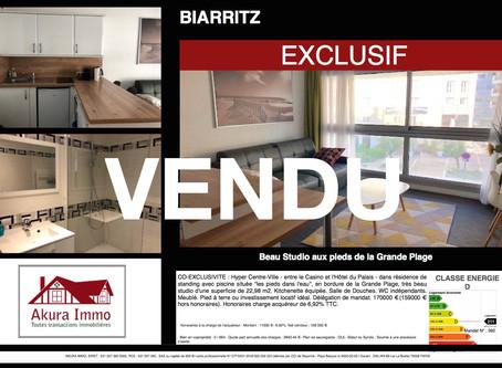 VENDU Studio au bord de la Grande Plage à BIARRITZ