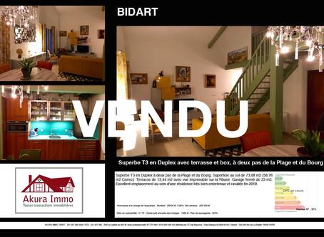 VENDU Beau T3 en Duplex à BIDART Erretegia