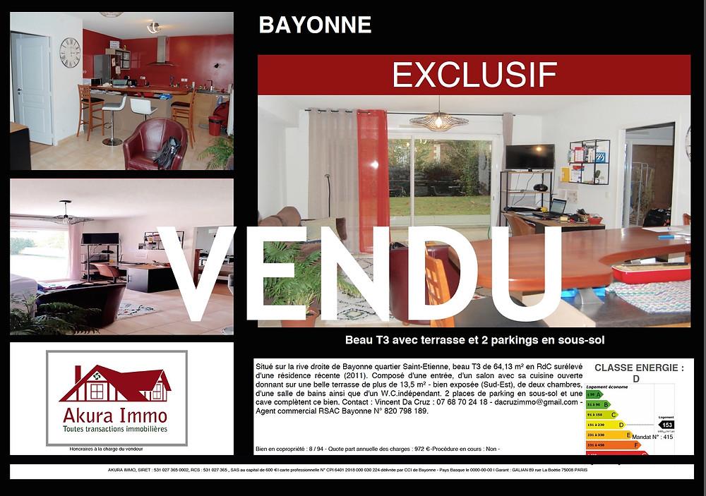 Beau T3 vendu à BAYONNE Saint-Etienne