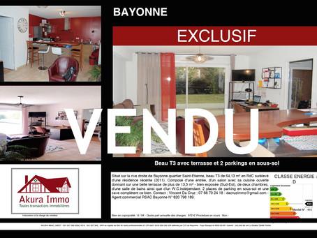 VENDU en EXCLUSIVITE Beau T3 avec terrasse à BAYONNE Saint-Etienne