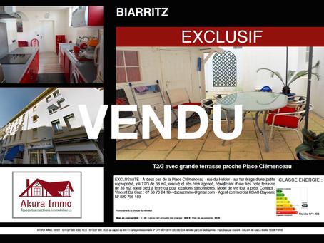 VENDU T2 Bis à BIARRITZ Place Clemenceau