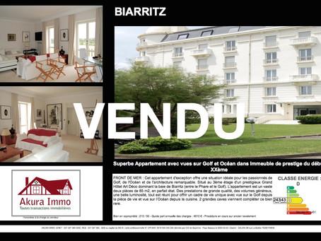 VENDU Superbe appartement dans Immeuble de Prestige début XXème à BIARRITZ Front de Mer