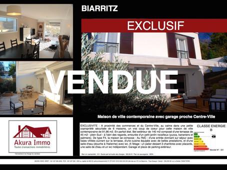VENDUE / EXCLUSIVITE : Belle Maison de Ville contemporaine à BIARRITZ