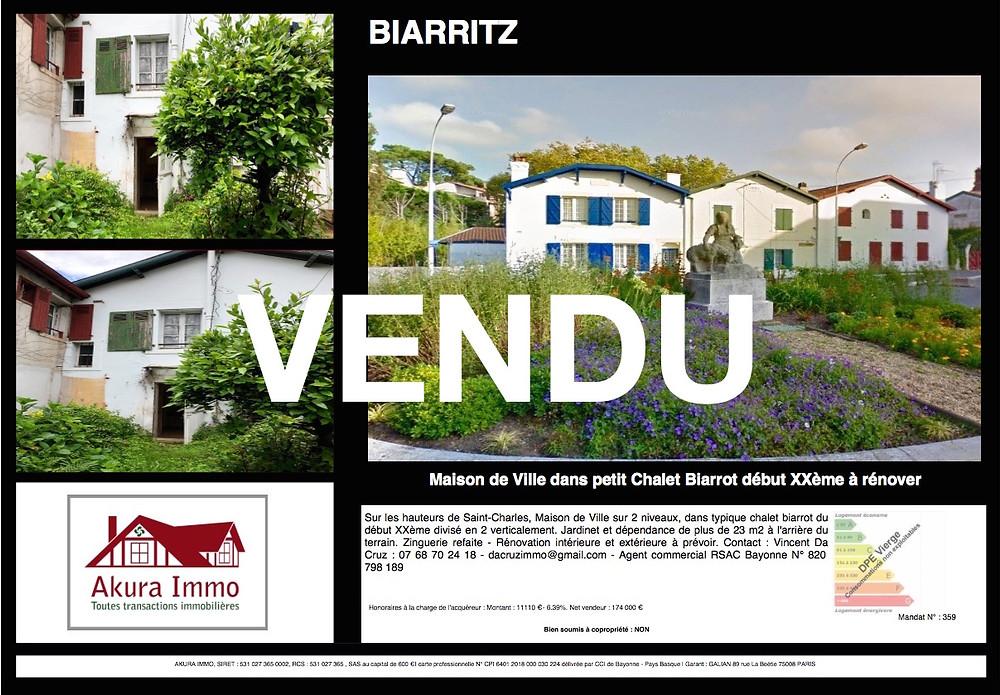 VENDU Chalet Biarrot 1930 à Biarritz Larochefoucauld
