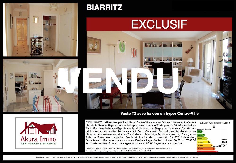 T2 vendu à BIARRITZ Hyper Centre-Ville