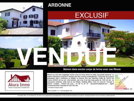 VENDUE Maison dans ancien corps de ferme à ARBONNE