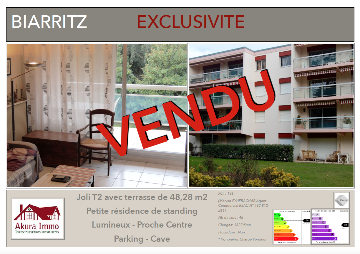 Vendu chez Akura Immo T2 Biarritz Lahouze
