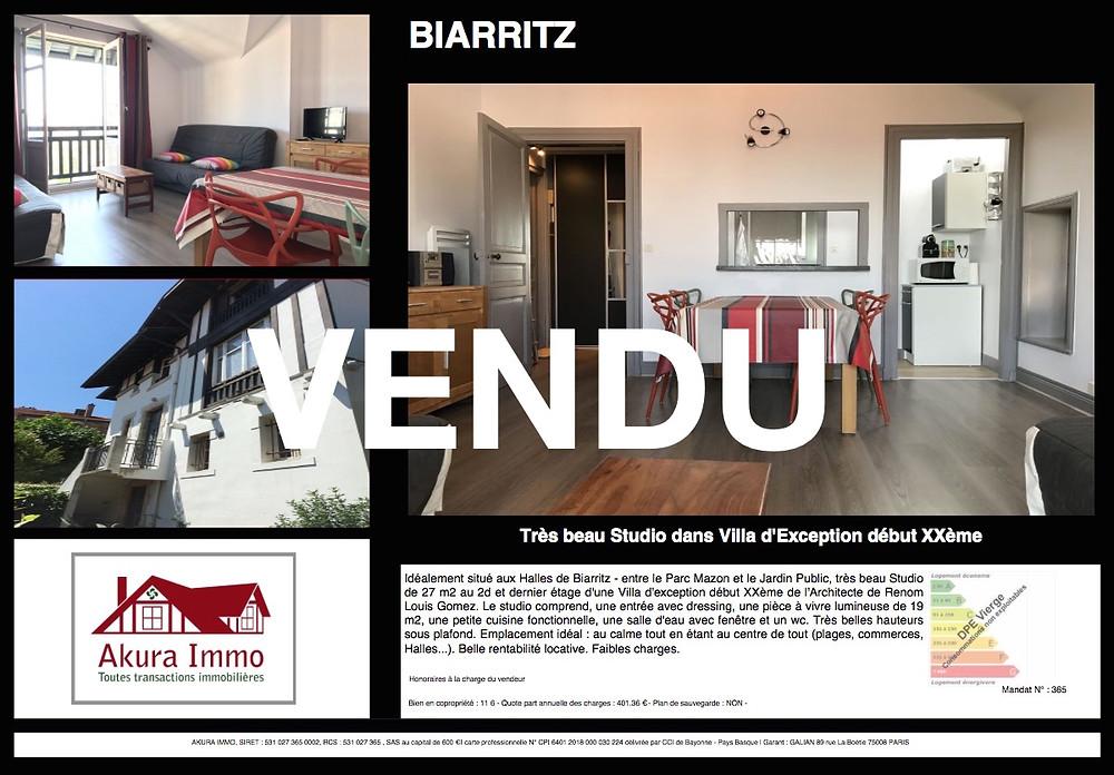 Vendu Studio à Biarritz Les Halles