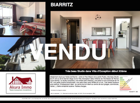 VENDU Studio dans Villa d'Exception à BIARRITZ Les Halles