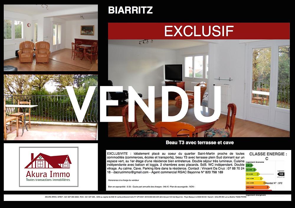 VENDU T3 avec terrasse à BIARRITZ Saint-Martin