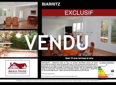 VENDU en EXCLUSIVITE T3 avec terrasse à BIARRITZ Saint-Martin