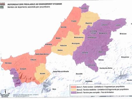Carte des Zones soumises à autorisation préalable en cas de changement d'usage, au Pays Basque