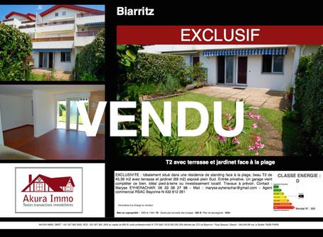 VENDU T2 avec jardinet et garage à BIARRITZ Marbella