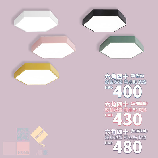 鐵藝燈體 六角四十 精品貼頂燈 包送貨安裝 5種顏色 3種款式選擇 半年保養