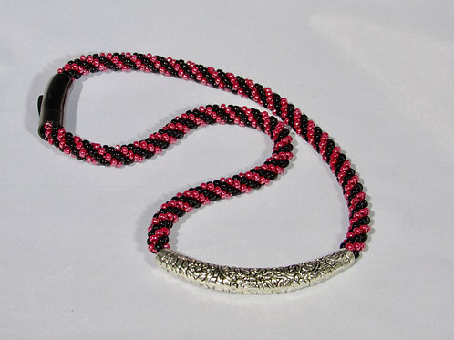 Beaded Kumihimo Necklace with Pewter slider