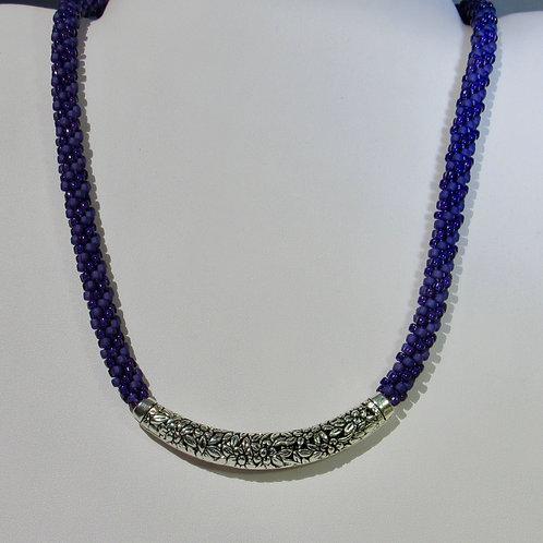 Purple Beaded Kumihimo Necklace