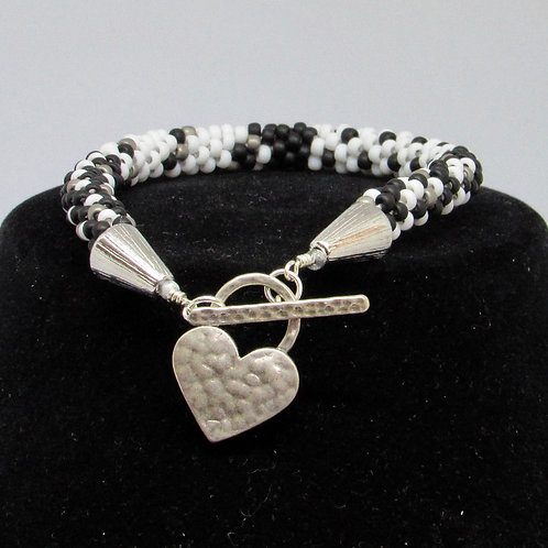 Color Block Black & White bracelet with heart toggle