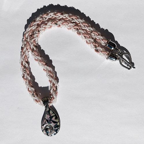 Edo Yatsu Beaded Necklace with porcelain pendant