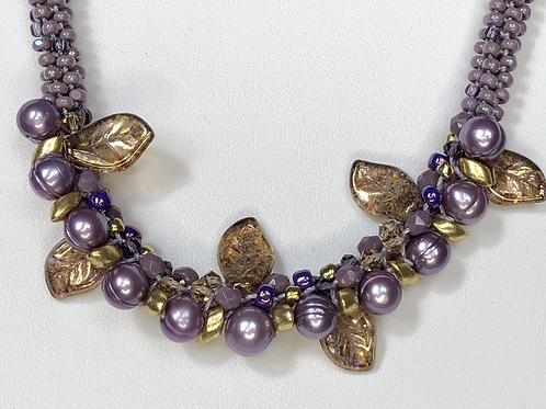 Beaded Lilac Pearl Necklace