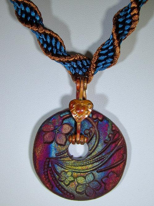 Spiral Braided Necklace with Raku Donut