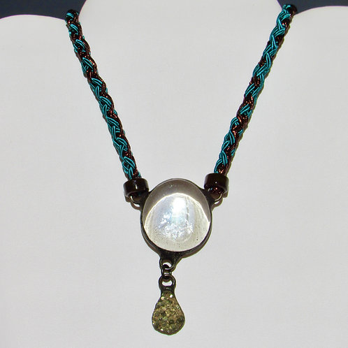 Soutache braided necklace with soldered pendants