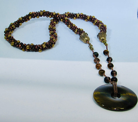 Tiger Eye Donut Necklace