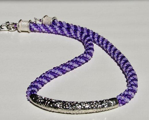 Lavender Stripped Slider Necklace