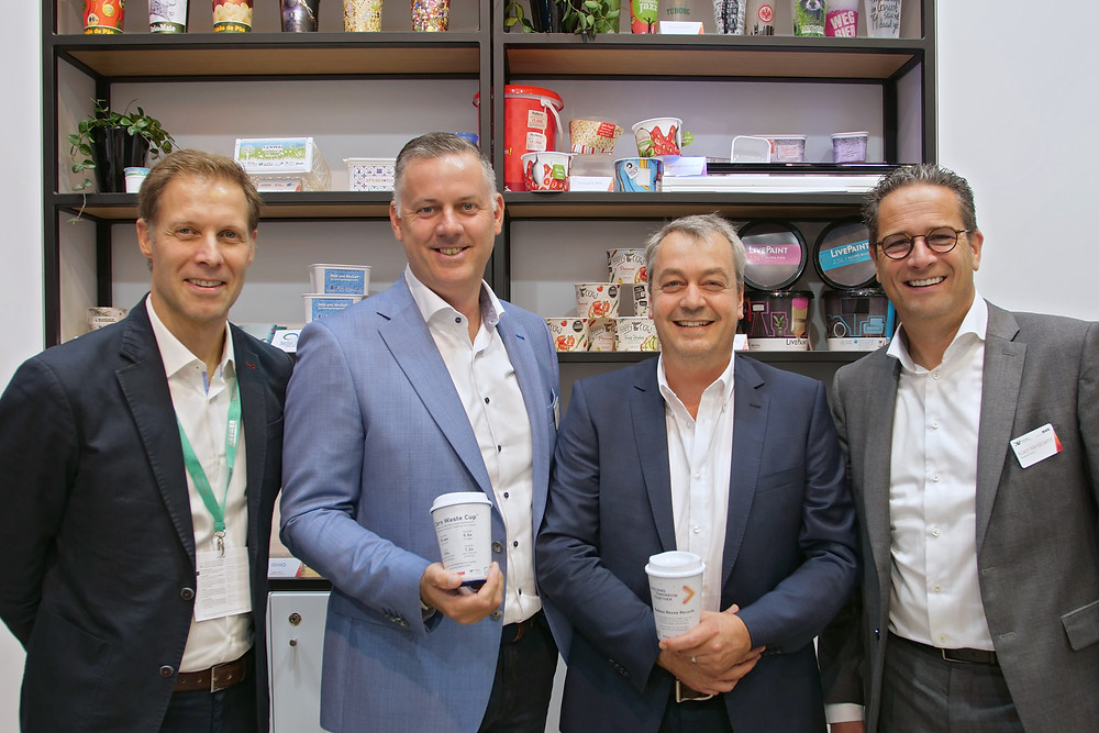 Left to right: Henri Gaskjenn (Bockatech COO), Nico Van de Walle (Verstraete IML Product and Circular Economy Manager), Chris Bocking (Bockatech CEO), Koen Verstraete (Verstraete IML Managing Director)