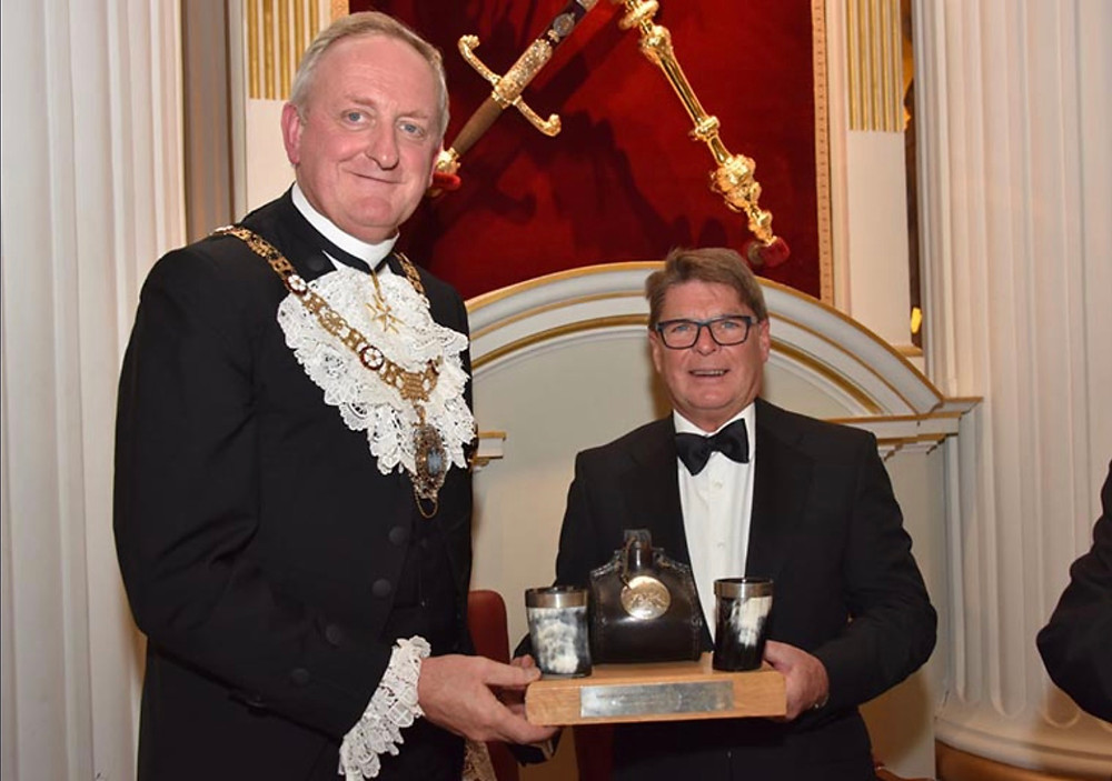 Bockatech co-founder Peter Clarke collects the Bottlemaker's Award from Lord Mayor of London Peter Estlin