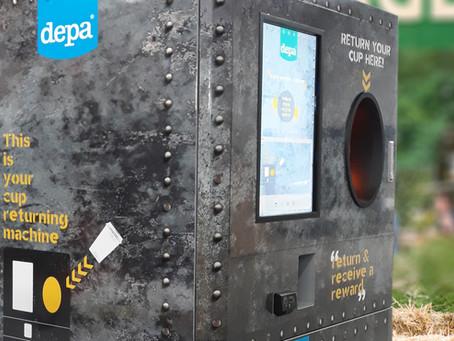 Reverse vending system captures EcoCore reusables at European food festival