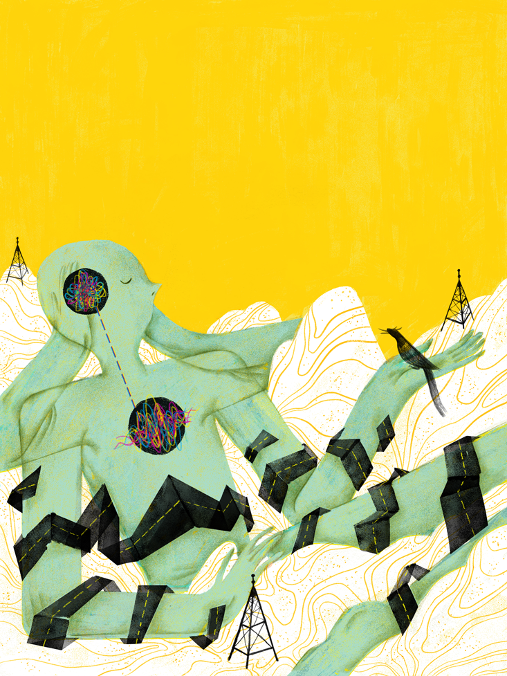 illustration in green and yellow