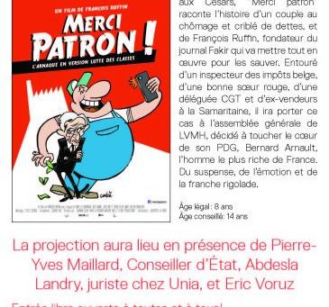 """Soirée publique - Cinéma Odéon - """"Merci Patron!"""""""