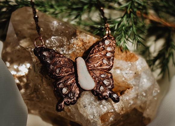 Opal & Herkimer Diamond Butterfly Necklace