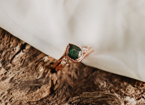 Emerald & Herkimer Diamond Ring