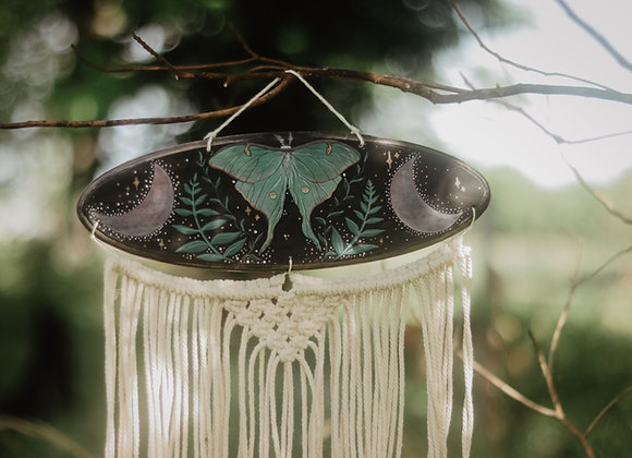 Luna Moth Wood Painting Macrame Wall Art