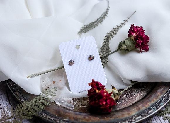 Round Opal Chip, Flower Petal, & Moss Earrings